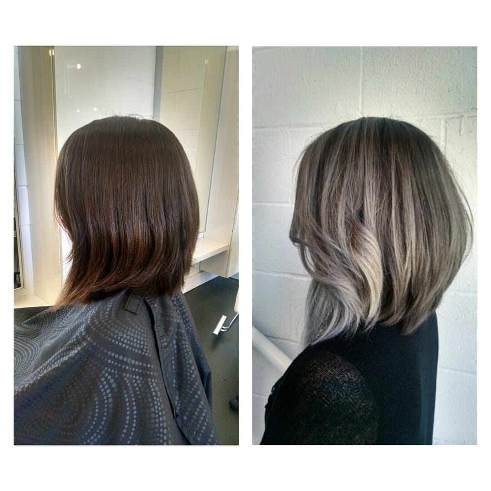 From long past her shoulders to a lob to silver ombre for Ombre mittellang