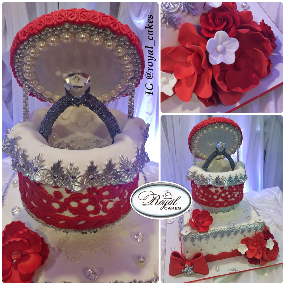 Cake Designs Instagram : Red Lace engagement cake with Royal Cakes signature ring ...