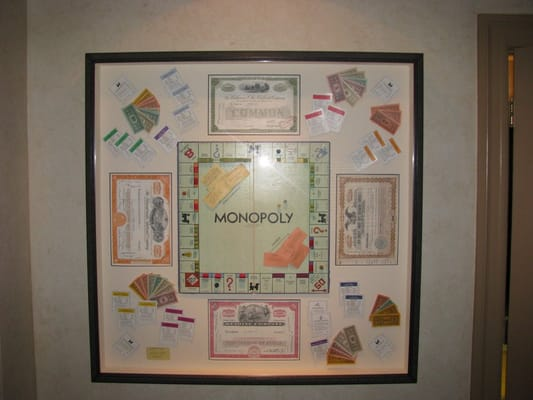 Monopoly Set Framed With Certiifcates And Game Pieces