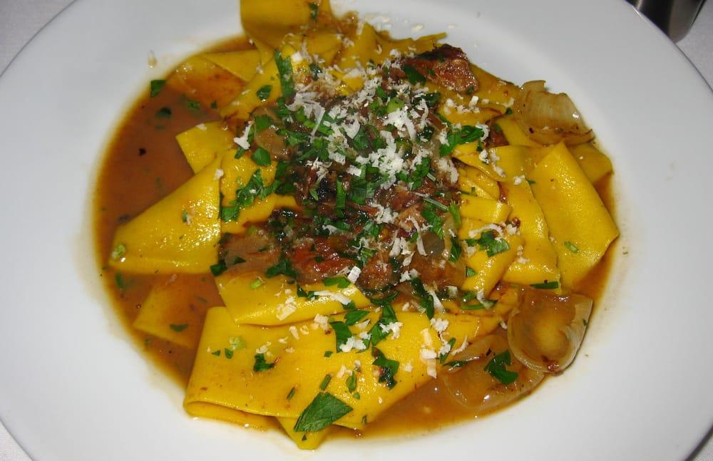 ... slow cooked short rib ragu, roasted cipolline, grated horseradish (10