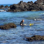 Kuki'o Beach - Hawaii, HI, États-Unis. Coming out and trying to stay out of the sun!