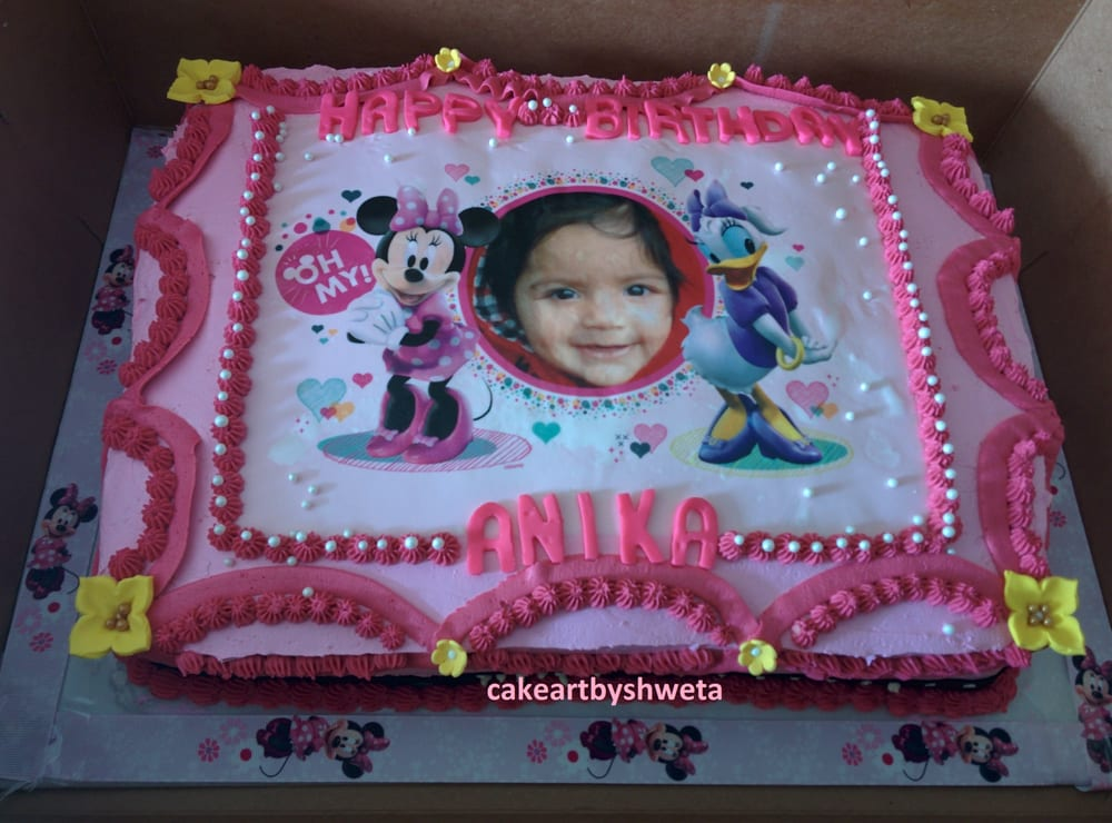 Minnie Mouse 1st Birthday Sheet Cake Cake Art by Shweta Minnie Mouse Theme 1st Birthday Sheet Cake Houston