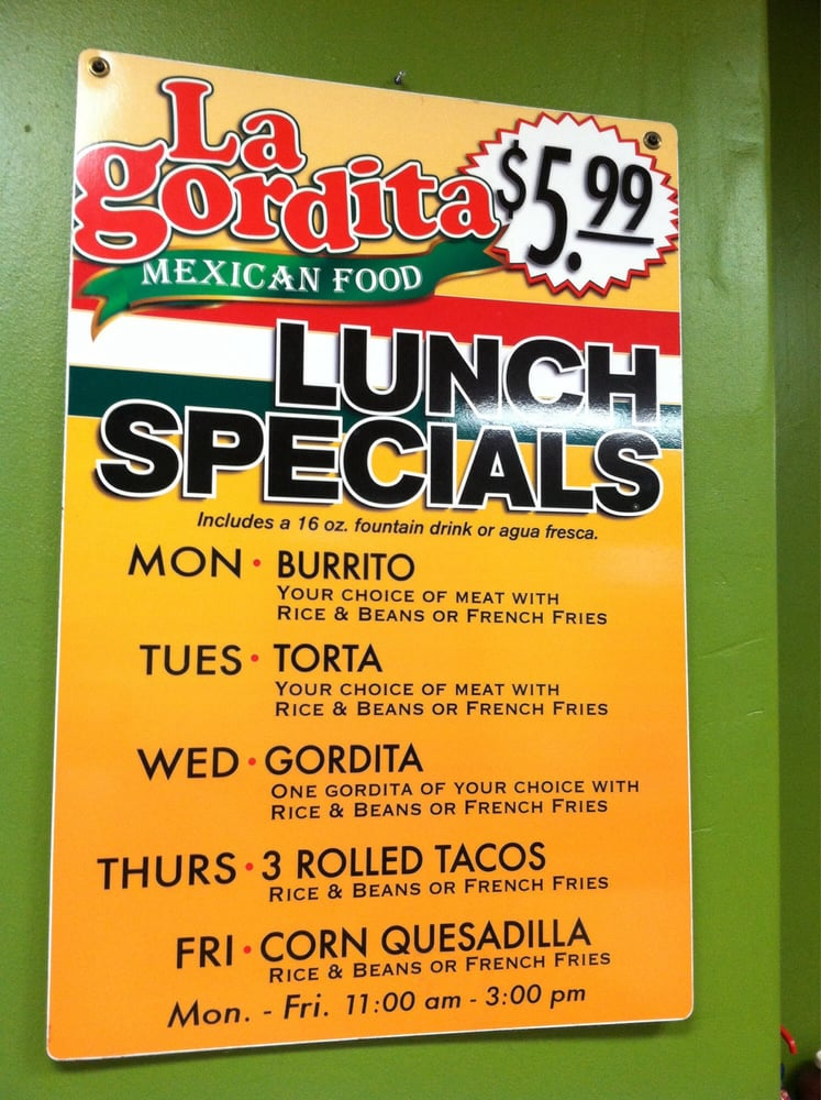 I love lunch specials lunch menu lagordita yelp for Lunch specials