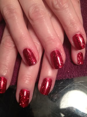 Gemini Nails and Makeup - Rockstars glitter shellac nails - Austin, TX