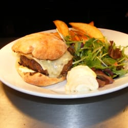 The house beef burger with freshly backed ciabatta roll and hand-cut chips - delicious!