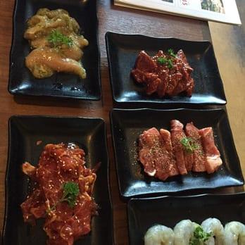 ... hangar steak miso, New York steak garlic, spicy yaki-Shane, shrimp