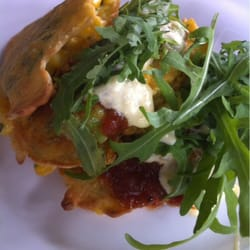 Corn fritters with avocado