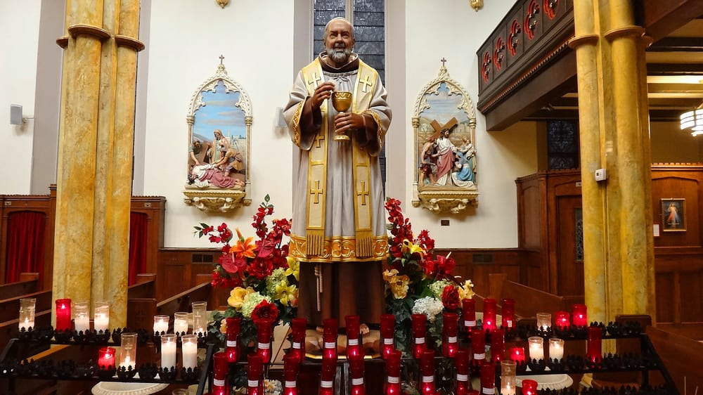 This Wonderful Statue Of St Padre Pio Greets Us In The