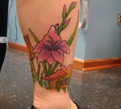 Floral leg ankle tattoo by resident artist bezo yelp for Painful pleasures tattoo