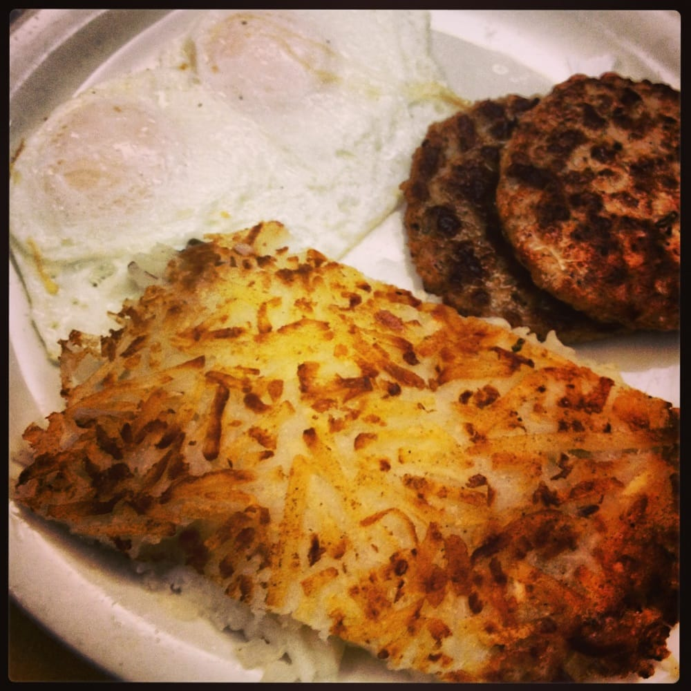 Sausage patties, eggs over easy, and hash browns | Yelp