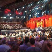 Prom no. 23 2012 from the arena mosh pit with BBC national orchestra of Wales and 200+ choir.