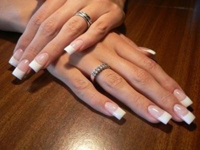 Pink Acrylic White Tip Nails Acrylic Nails Pink