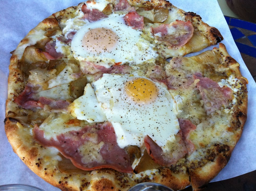 ... States. Farm eggs, ham, braised endives, gruyere, and mustard pizza