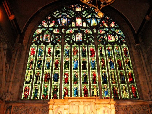 Holy Trinity, Sloane Square: East Window featuring saints, prophets and apostles: Designed by Edward Burne-Jones with