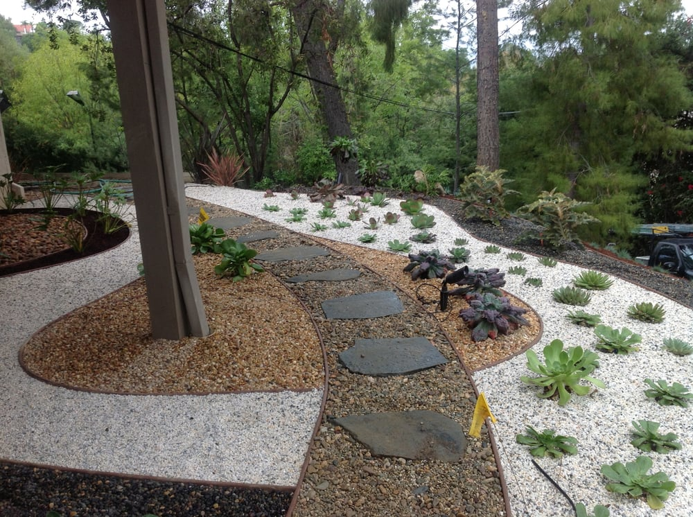 Landscaping plan landscaping ideas with dg for Garden designs with pebbles