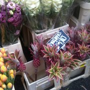 All kinds of fragrant and real flowers at good prices including pineaples:)