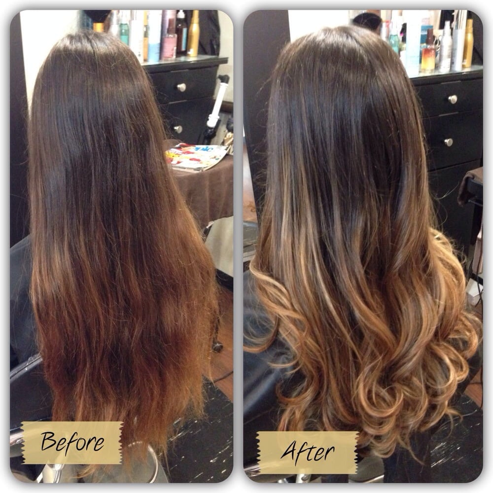 Balayage before and after