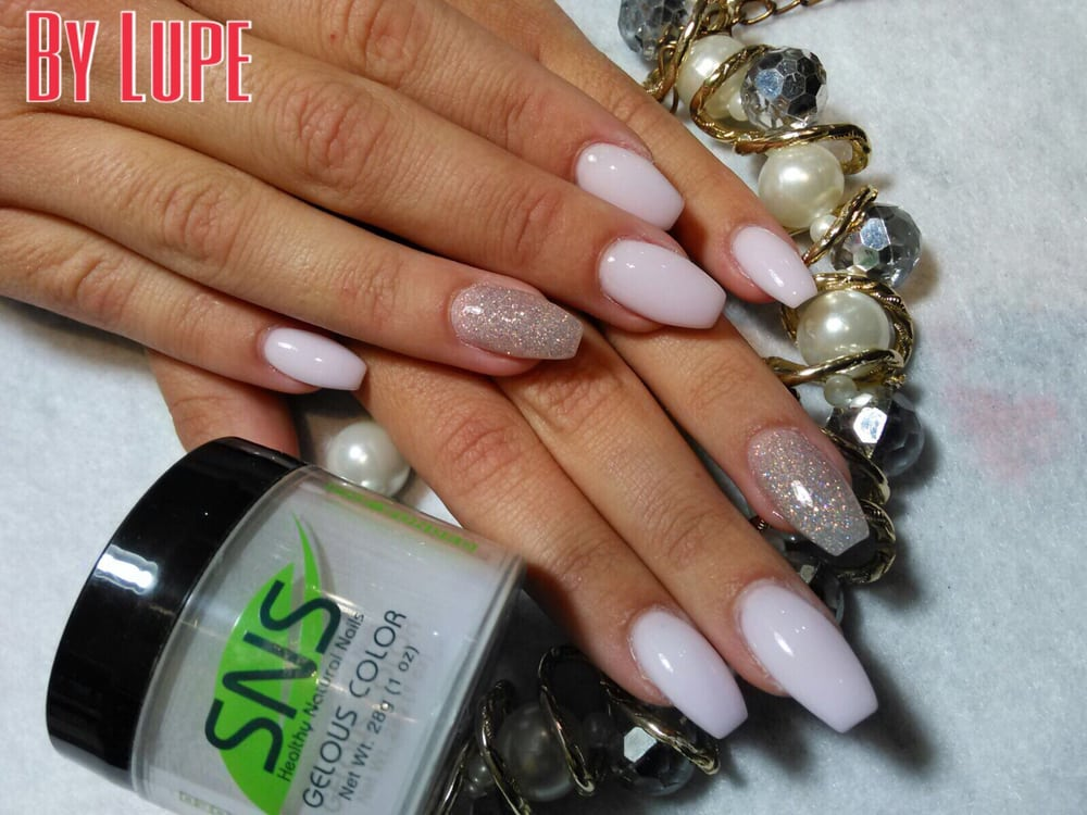 sns nails in ballerina shape coffin nails by lupe 407