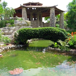 Japanese Tea Gardens Pagoda View From The First Bridge San Antonio Tx United States