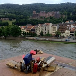 Locks on the bridge and view of the…
