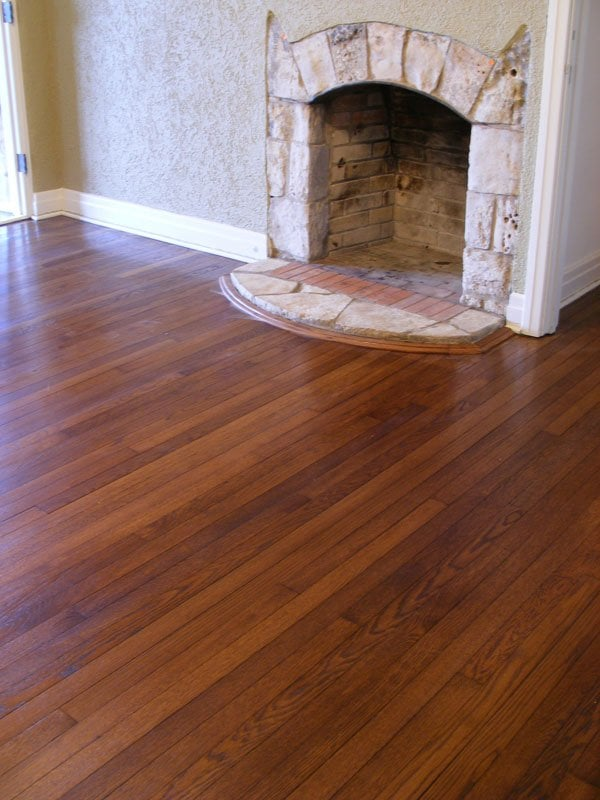 Refinished antique oak with chestnut stain and natural wax for Hardwood flooring 78666