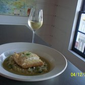 Saltwater Oyster Depot - delicious Halibut over asparagus risotto - Inverness, CA, Vereinigte Staaten