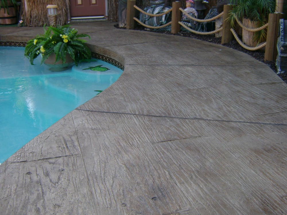 Pool Deck - Wood Design Stamped Concrete Overlay | Yelp