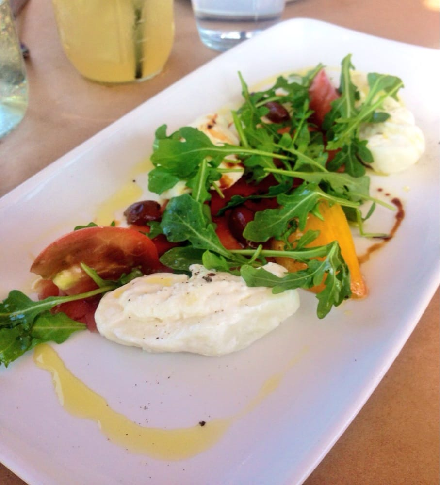 Riff on a caprese salad: burrata, heirloom tomatoes, arugula ...