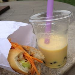 Bahn mi poulet et buble tea mangue!