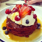 Pancakes with Berries, Maple Syrup and Vanilla Cream