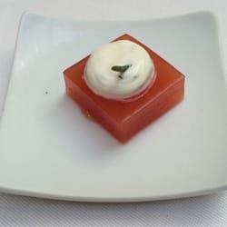 Le Chapon Fin - Bordeaux, France. Amuse bouche. Watermelon gelee.