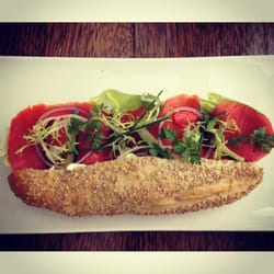 Sesame baguette lightly toasted with raw…