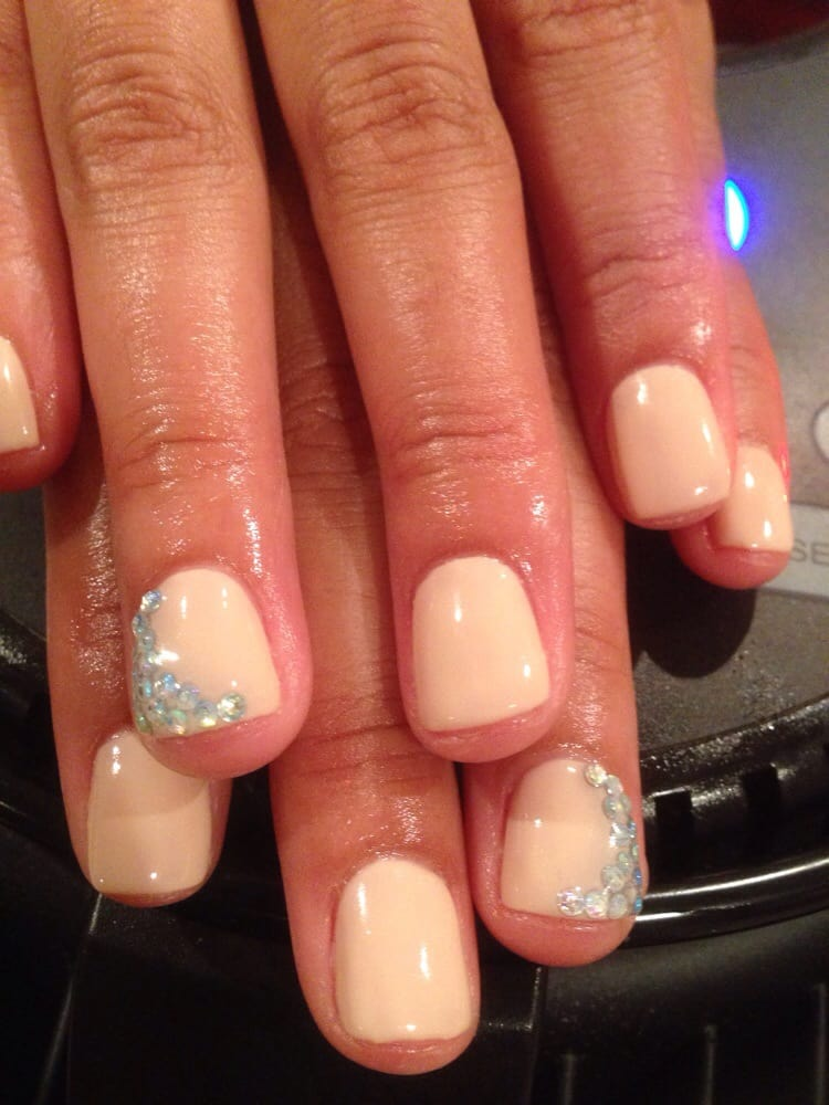 CA, United States. Vegas ready nails! Diamonds and nude gel manicure