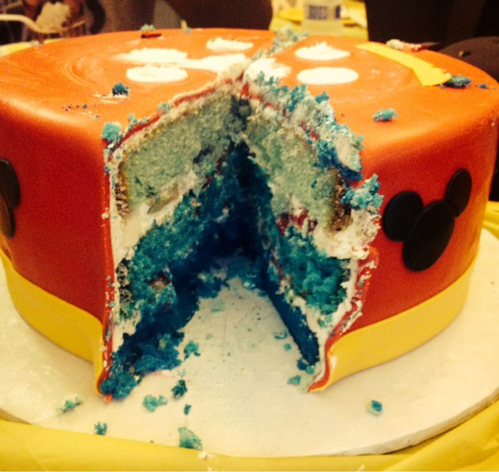 ... cake with blue ombré inside. Whipped cream & fruit filling. - Elk