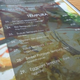 Tempura on the menu