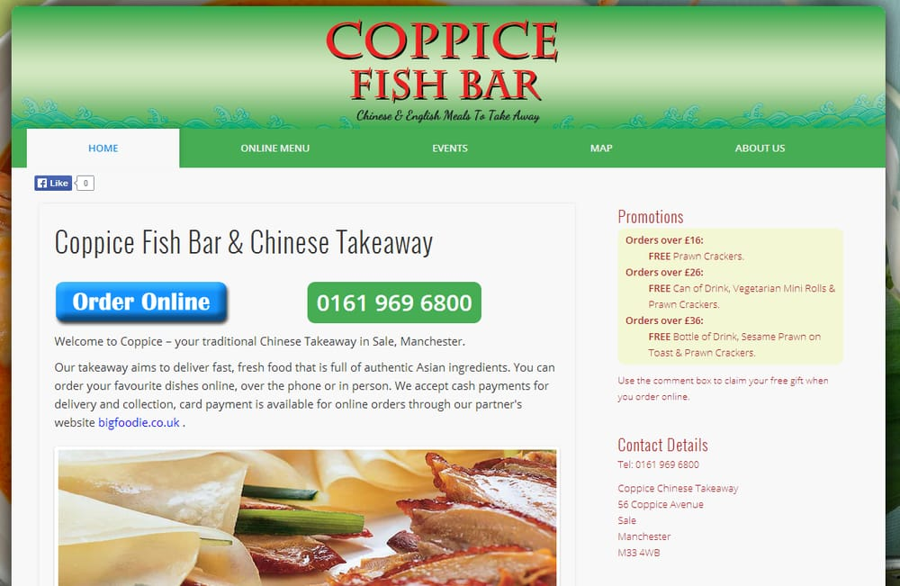 Coppice fish bar fish chips manchester united for Fish delivery near me