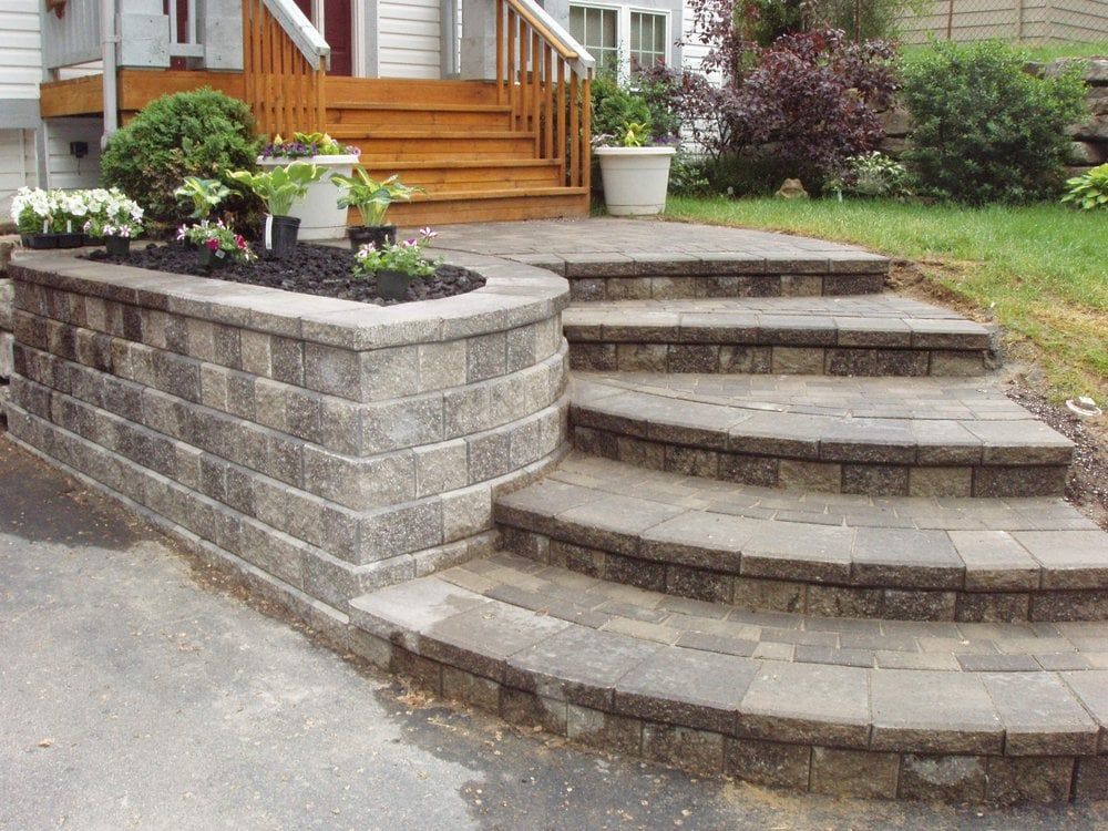Landscaping Wall Steps : Retaining wall walkway and paver steps in the rochester