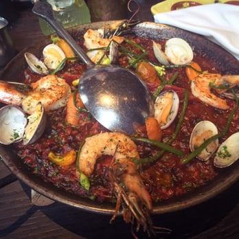 ... shrimp, clams, chorizo with thumbelina carrots, pickled garlic scapes
