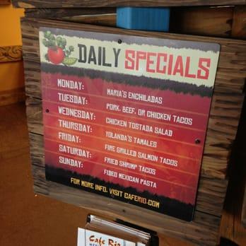 Cafe Rio Menu Daily Specials