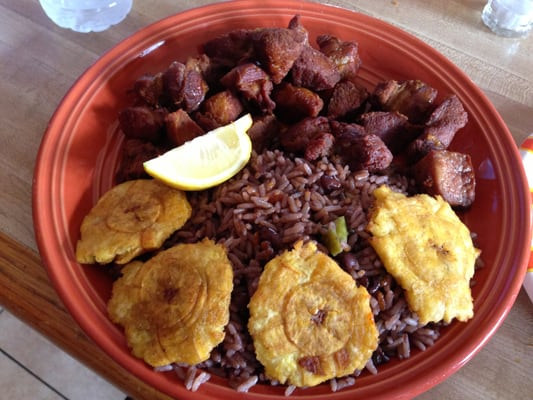 - fried pork chunks with a side of cuban-style black beans and rice ...