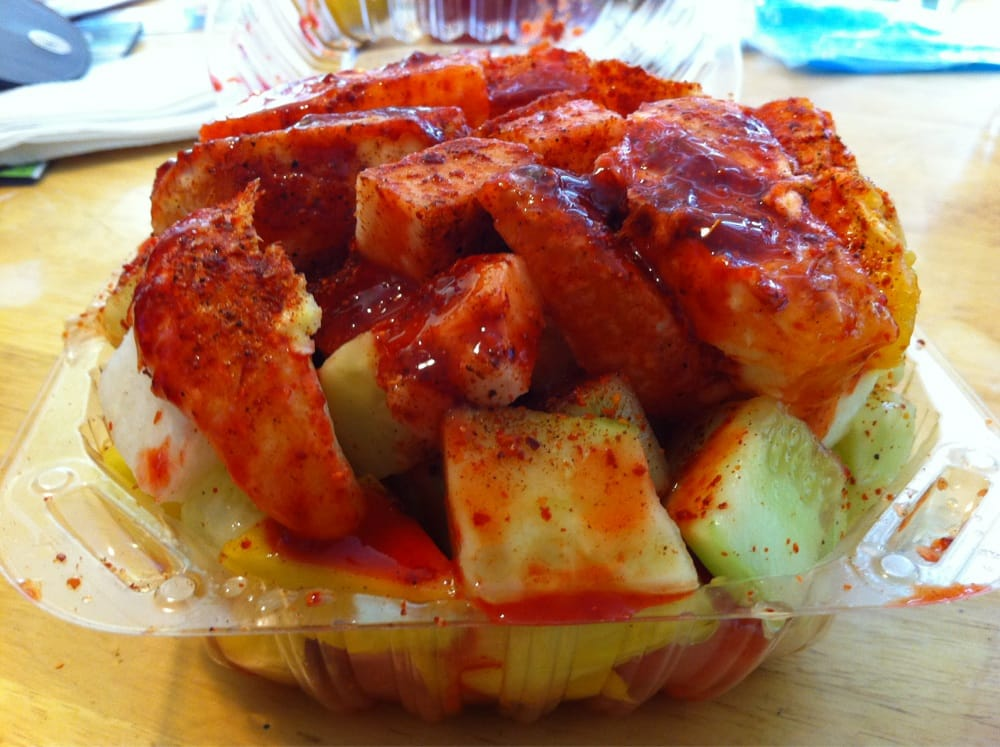 ... jicama, watermelon, orange and pineapple with chile, lemon and chamoy