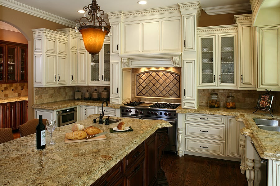 Antique white with a mocha glaze kitchen yelp for Antique glazed kitchen cabinets pictures