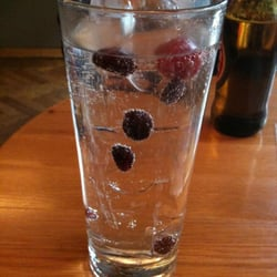 A gin & tonic prepared with red berries.