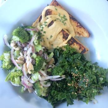 ... . Garden Bowl with Baked Tofu, Sautéed Greens and Broccoli Salad
