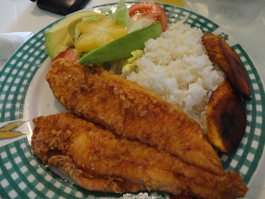 Fried white fish avocado salad rice pigeon peas not for Good fried fish near me