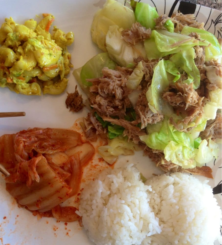 ... States. Kalua Pork & Cabbage with Rice, Macaroni Salad and Kim Chee