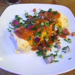 Brekkie Burrito with chorizo.