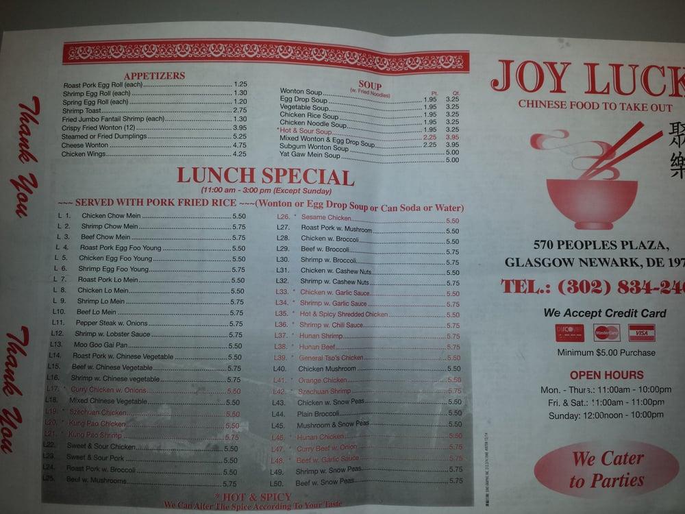Joy luck cucina cinese newark de stati uniti for Menu cinese