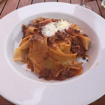 ... Pappardelle with beef, pork, and veal Bolognese, fennel seeds