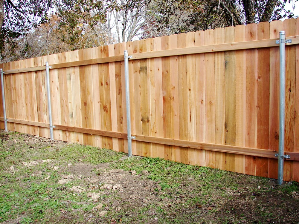Wood Privacy Fence On Steel Posts Western Red Cedar Yelp